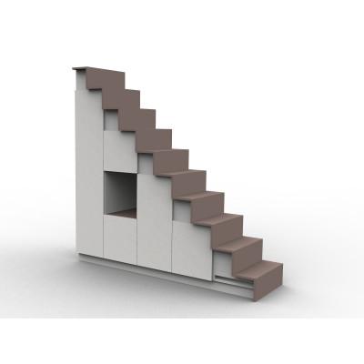 Meuble escalier blanc et noir, double espace de rangement, modèle Eteya