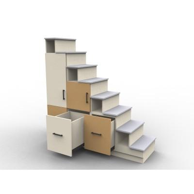 Meuble escalier avec portes de rangement, modèle Usu