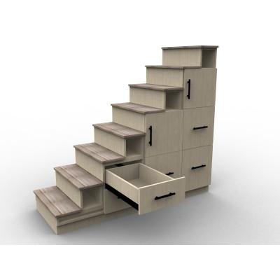 Meuble escalier avec effet bois, modèle Chêne Boisé avec tiroir