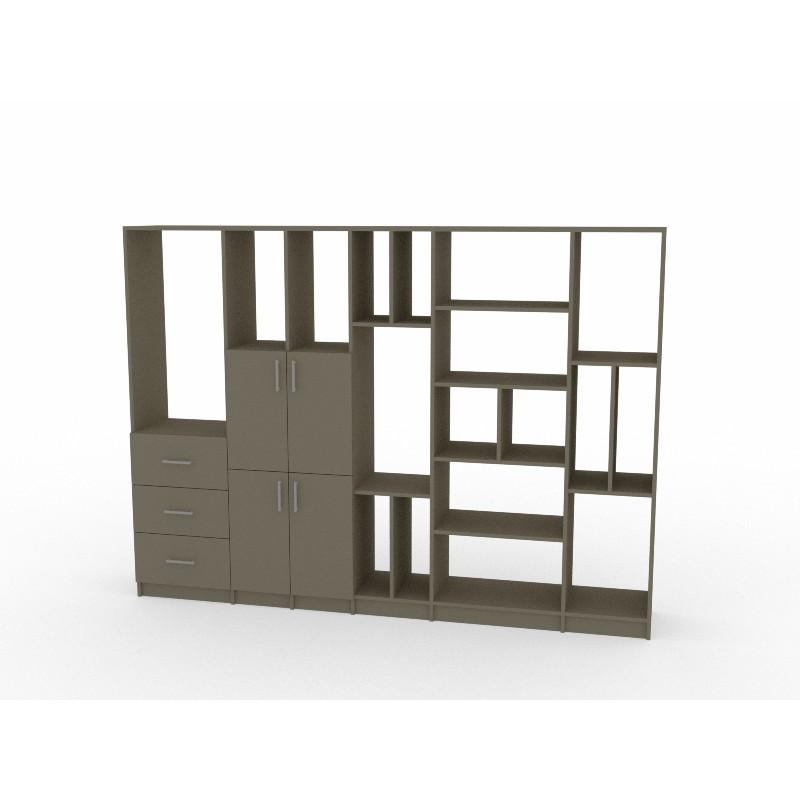Bibliothèque sur mesure bois coloré
