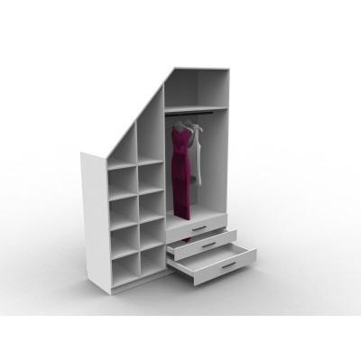 Meuble sous escalier avec dressing, modèle Eme, configurable et personnalisable, meuble sur mesure