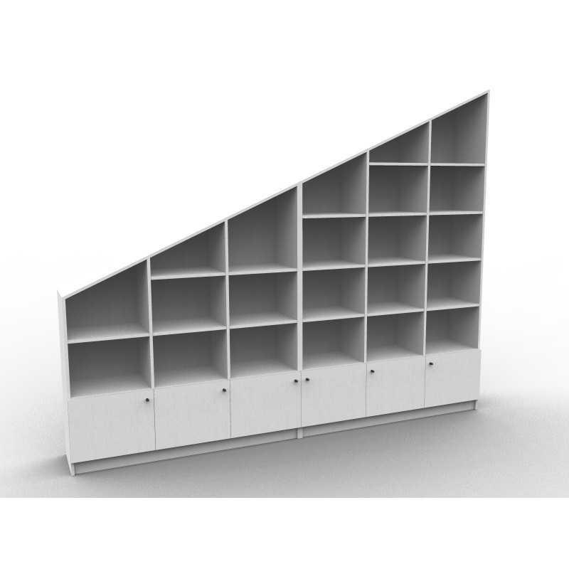 Bibliothèque sous pente sur mesure, modèle Large